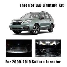 10 pçs carro branco lâmpadas led interior mapa cúpula tronco kit de luz apto para 2009-2017 2018 2019 subaru forester porta da placa de licença lâmpada