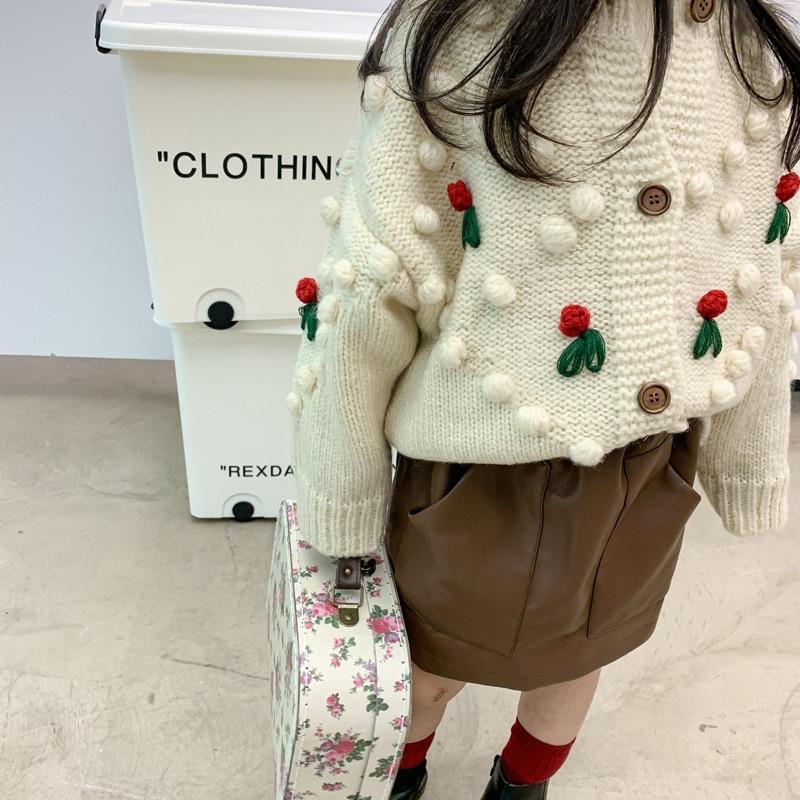 Autumn Winter Baby Girls Flower Knitted Cardigan Sweaters Coat Children Clothing Kids Handmade Wool Ball Cardigan Coat Tops 3