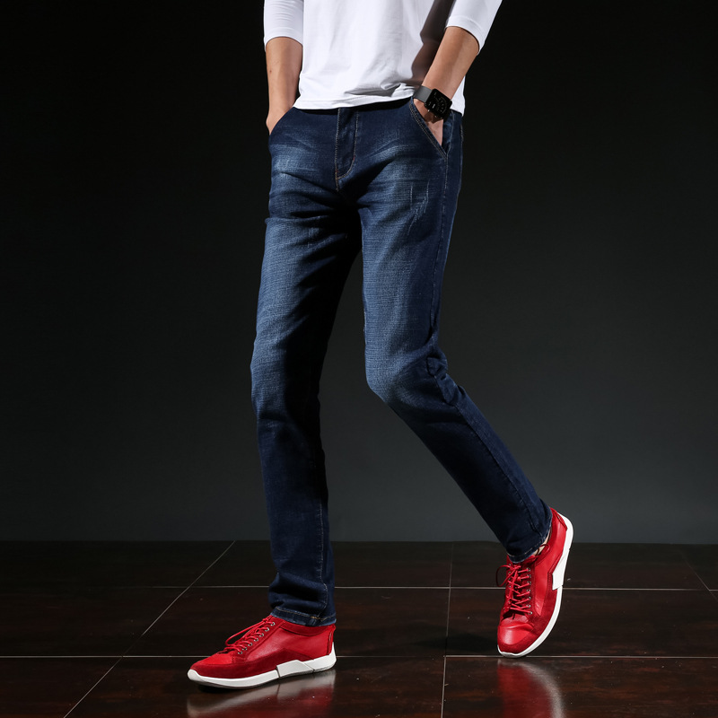 Elasticity Xiecha Pocket Jeans Men's Straight-leg Pants Business Casual Korean-style Slim Fit Men Long Pants Four Seasons Men's