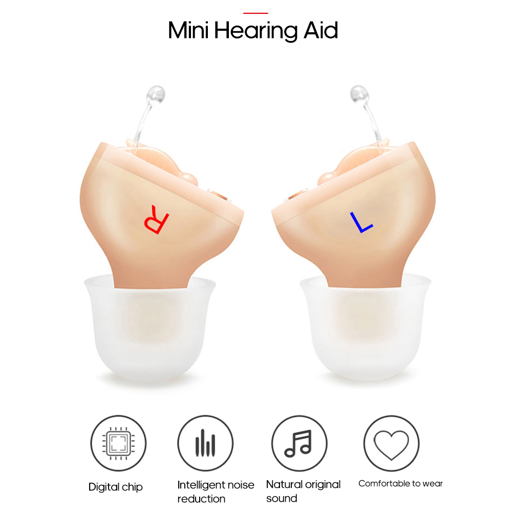 Mini CIC Hearing aid Invisible Sound Amplifier Volume Adjustable Ear Hearing Assistant Helper for Deaf Elderly For Right Left