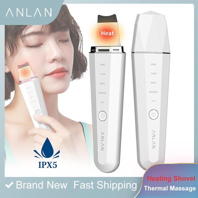 ANLAN ultradźwiękowy skruber skóry Ion głębokie oczyszczanie twarzy trądzik usuwająca zaskórniki 45 ℃ ciepła masaż twarzy Peeling łopata podnośnik maszyna tanie i dobre opinie Metal Akumulator Maszyna wykonana Masaż wibracyjny Twarzy czyste Galwaniczne Ion + - Napinania skóry Odmładzanie skóry