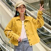 Autumn Women Loose Cowboy Coat Long Sleeve Short Female Denim Jacket White Green Yellow Bomber