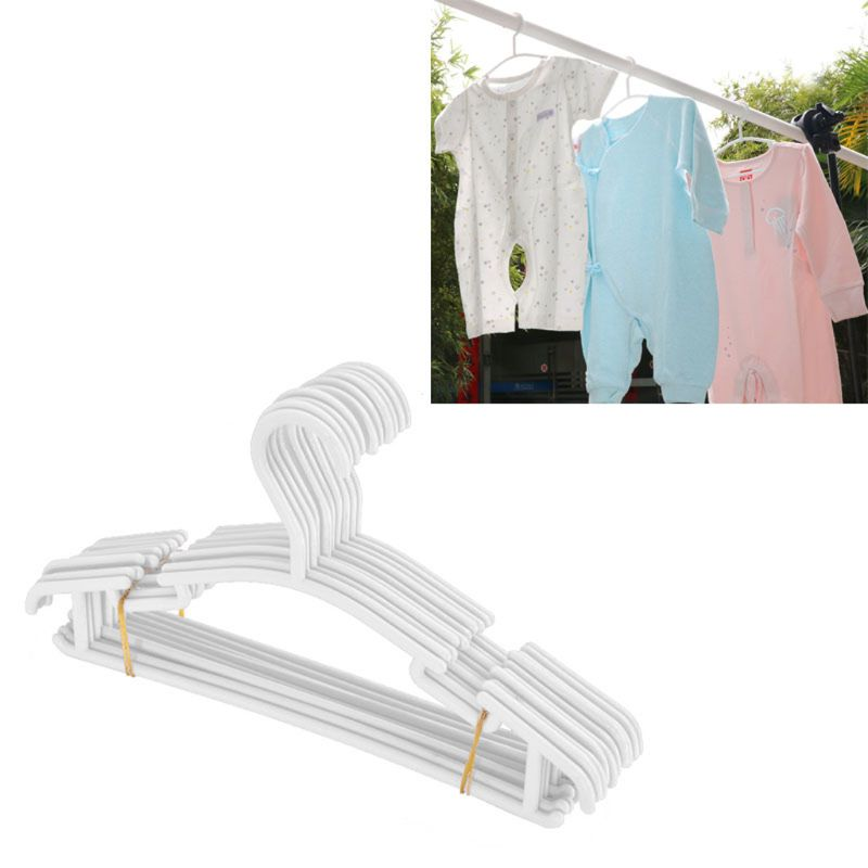 2019 10 Pack White Plastic Nursery Hangers Nonslip Baby Coat Hangers Space Saving Tubular Hangers For Kids Children Clothes