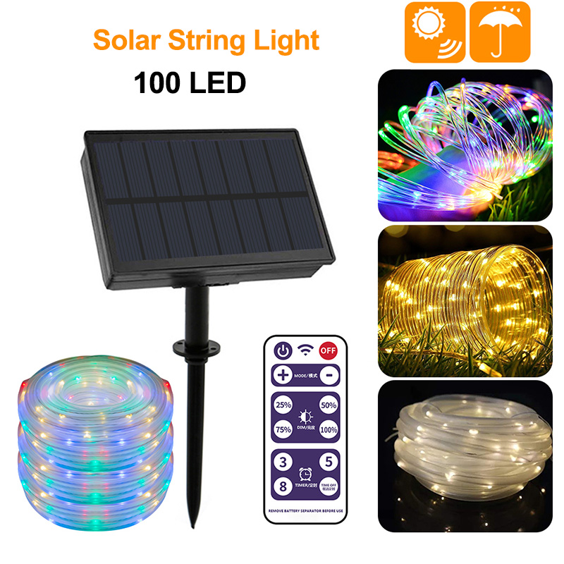 100 LED Solar String Light Outdoor Solar Strip Light Remote Control Waterproof For Garden Yard Christmas Party Wedding Lamp New