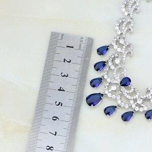 Image 4 - Water Drop Blue Cubic ZirconiaสีขาวCZเงินผู้หญิงเครื่องประดับงานแต่งงานต่างหูจี้ชุดสร้อยคอ