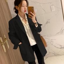 Женский бежевый пиджак с карманами повседневный свободный длинным