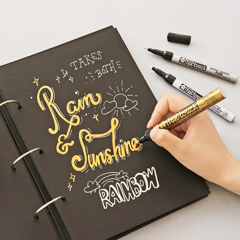 Sakura Marker Stift Gold Gold Weiß Farbe Touch Bold Feine Punkt Hervorhebung Pinsel für Zeichnung Malerei Album DIY Unterschrift A6863