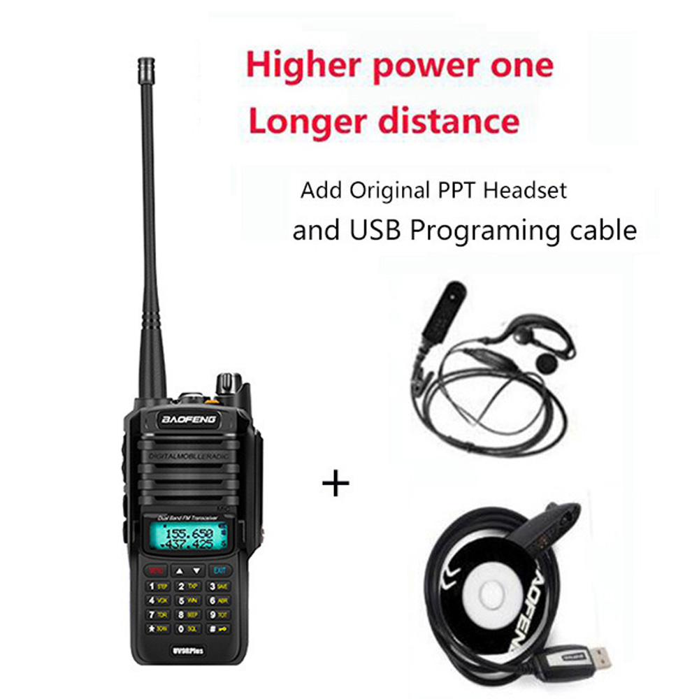 Upgrade UV-9R Plus 50km Walkie Talkie 10W/15W Two Way Radio Vhf Uhf Ham Portable Communicator HF Transceiver