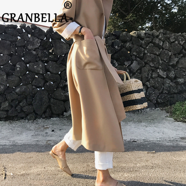 Elegant Women Long Lace-up Cardigan   Trench   Coat New Arrivel Solid Color Casual Windbreaker With Belt and Pockets