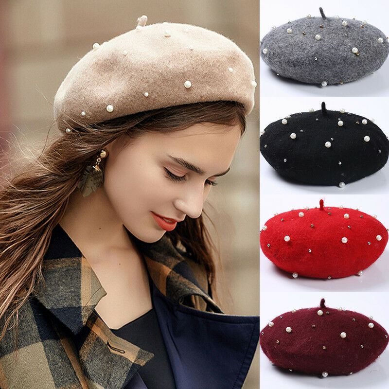 Vintage Wool Knittd Women French Pearl Beret Hats Ski Caps Warm Winter Girl Sweet Painter Beading Hat Beanie Bonnet Femme Gorras