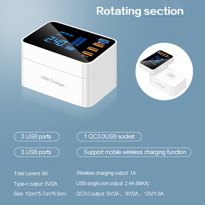 Image 2 - Quick Charge 3.0 Type C USB Charger For iPhone Adapter QI Wireless Charger Led Display Fast Charger For xiaomi huawei samsung