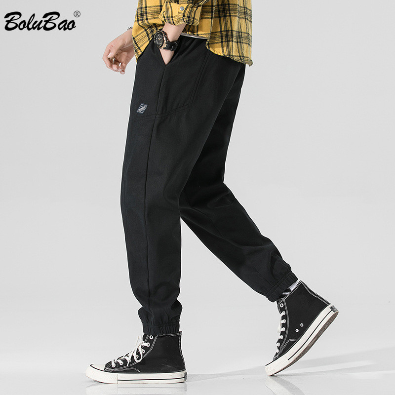 BOLUBAO Fashion Men's Pants Brand Men Small Feet Wild Trousers Drawstring Pencil Pants Casual Solid Color Male Cargo Pants