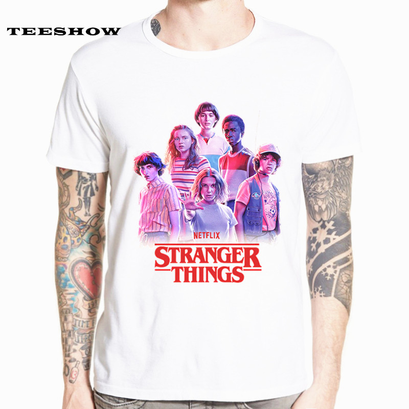 New Arrival Harajuku Stranger Things T Shirt Man Funny Cartoon White Tshirt For Male Or Female O-Neck Streetwear HCP4596