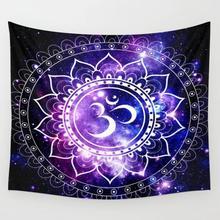 Om Мандала фиолетовые синие космические гобелены, Настенное подвесное настенное покрывало для декора, одеяло, постельные принадлежности, занавески, индивидуальный гобелен