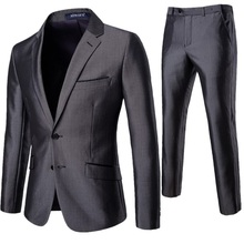 2020 New Men's Suit  Two Piece Set Business and Casual Solid Color Slim Mens Suits with Pants