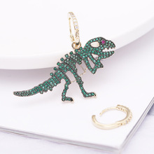 female removable earrings asymmetric contracted fashion and personality temperament Zircon eardrop of dinosaurs Jewelry products new mammoth teeth women s fashion aristocratic temperament female gold plated with a hoard of s925 eardrop