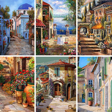 Sale 5D Diamand Painting  Villa Street Landschap DIY Cross stitch Full Square Embroidery Mosaic Rhinestone Home decor