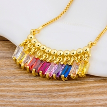 цена на Delicate Fashionable Gold Color Charm Chain Cubic Zirconia Rainbow Pendant Necklace Jewelry For Women Girl Statement Necklace