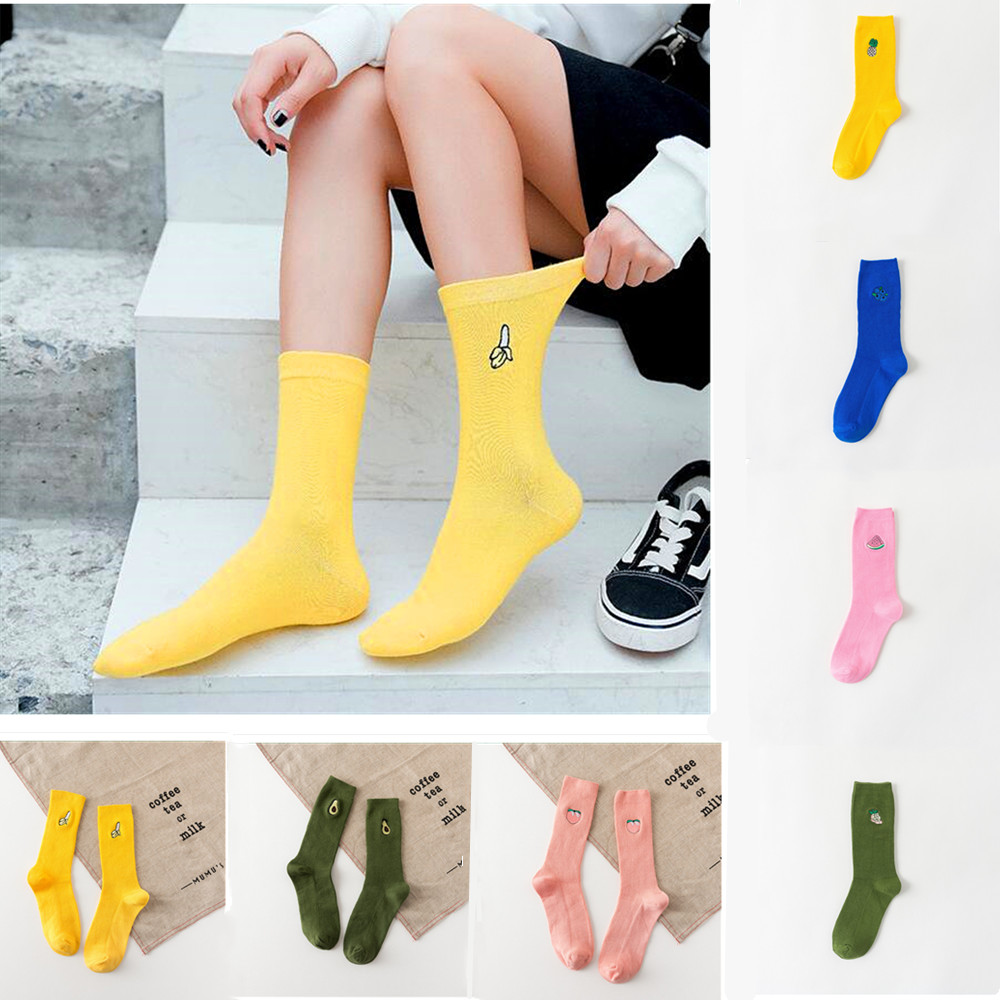 Cute Cartoon Fruit Print Avocado Banana Cherry Peach Girl Kawaii Socks Meias Korea Harajuku Embroidery Pile Heap Funny Socks