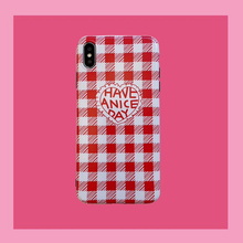 Red plaid phone case for coque iphone 6 6s 8 7 plus 6 s plus iphone xr x xs max cover matte silicone soft case love heart shell чехлы для телефонов with love moscow кожаный чехол для iphone 6 plus 7 plus 8 plus red wine