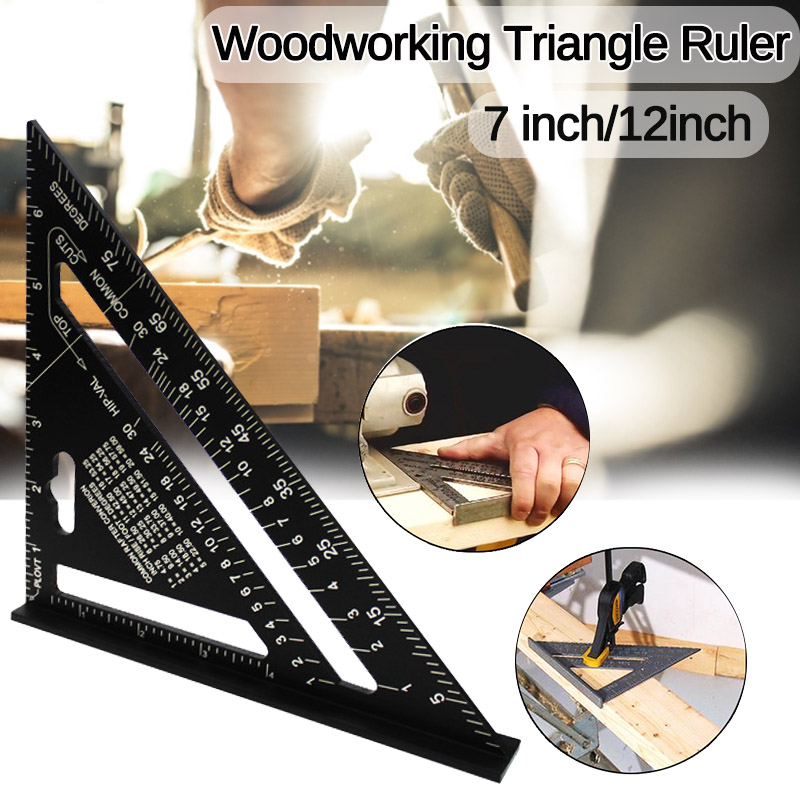 7/12 inch Aluminum Alloy Triangle Angle Ruler Squares for Woodworking Speed Square Angle Rule Protractor Measuring Tools Rulers