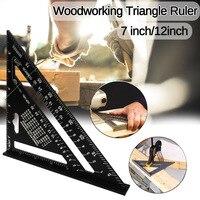 7/12 polegadas liga de alumínio triângulo ângulo régua quadrados para madeira velocidade ângulo quadrado regra transferidor ferramentas medição réguas Medidores     -