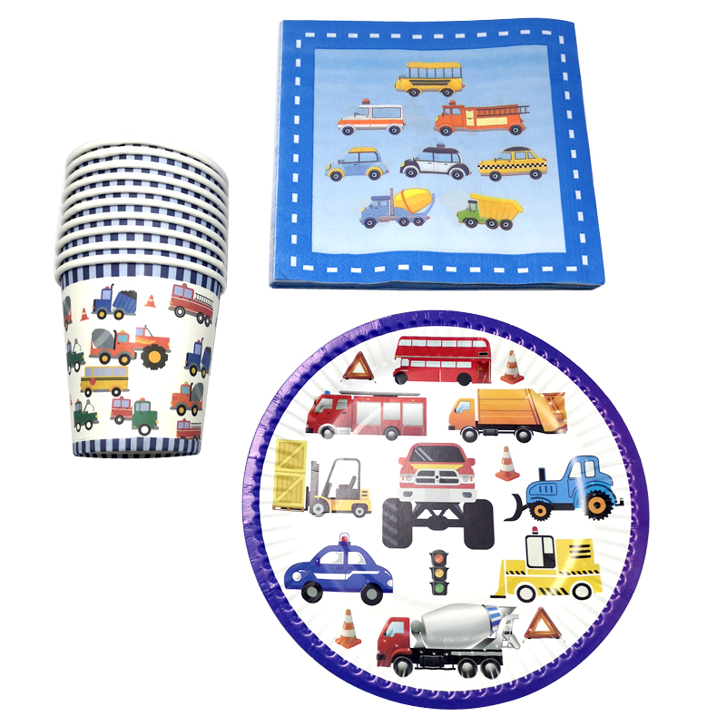 60PCS Baby Shower Evnets Decoration Cups Plates Kids Boys Favors Truck Bus Pattern Dishes Glass Happy Birthday Party Napkins