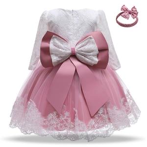 Одежда для маленьких девочек, платье принцессы, рождественское платье, платье для дня рождения; Возраст 1 Год Вечерние кружевное платье с длинным рукавом для девочек; Зимний костюм для маленьких детей, для новорожденных, 2nd платье; Платье на крестины