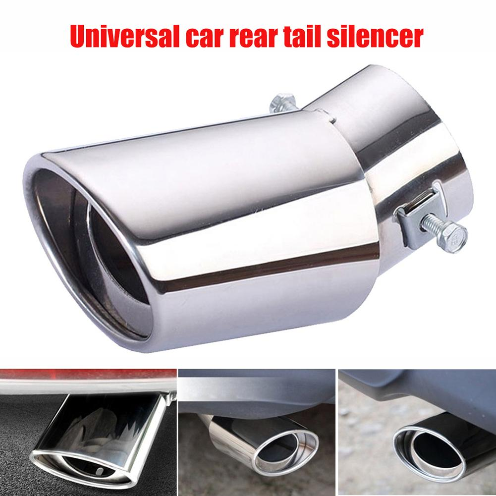 Universal Car Rear Round Stainless Steel Exhaust Pipe Tail Muffler Accessories 2019
