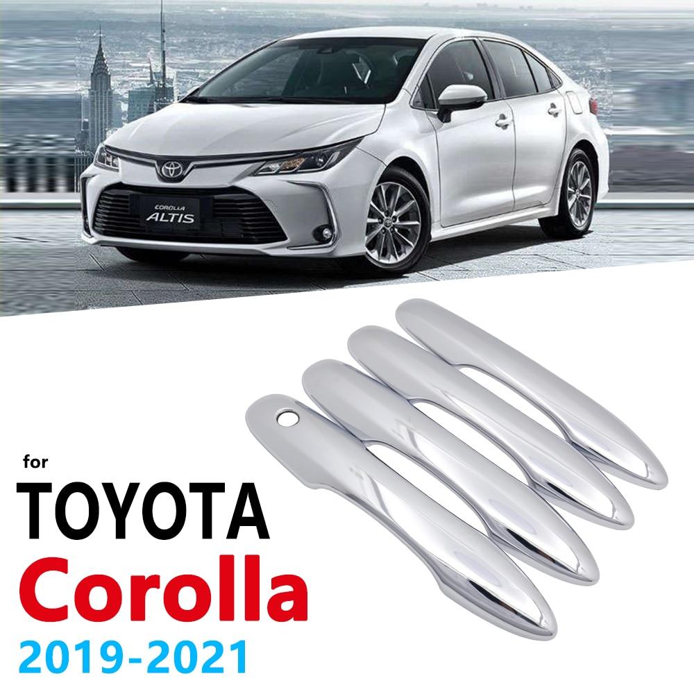 Chrome alças capa guarnição para toyota corolla auris e210 2019 2020 2021 acessórios do carro adesivos de estilo automático lidar com 210