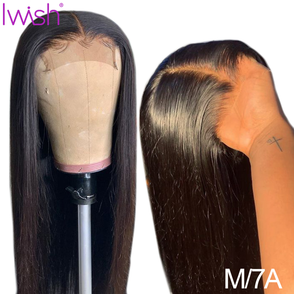 Iwish 150% Density Closure Wig Brazilian Straight Human Hair Wigs For Women 4x4 Remy Lace Closure Wig Pre Plucked With Baby Hair
