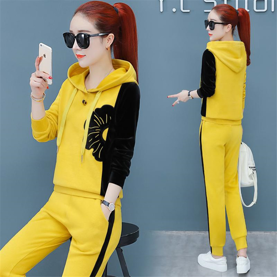 Plus 5XL Suit 2019 Autumn Winter Ladies Leisure Suit Two Piece Set Women Clothes Big Plus Size Sportswear Women's Tracksuits