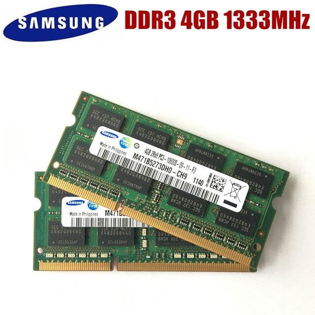 סמסונג 4GB 2RX8 PC3 10600S DDR3 1333Mhz 4gb מחשב נייד זיכרון 4G PC3 10600S 1333MHZ נייד מודול SODIMM רם