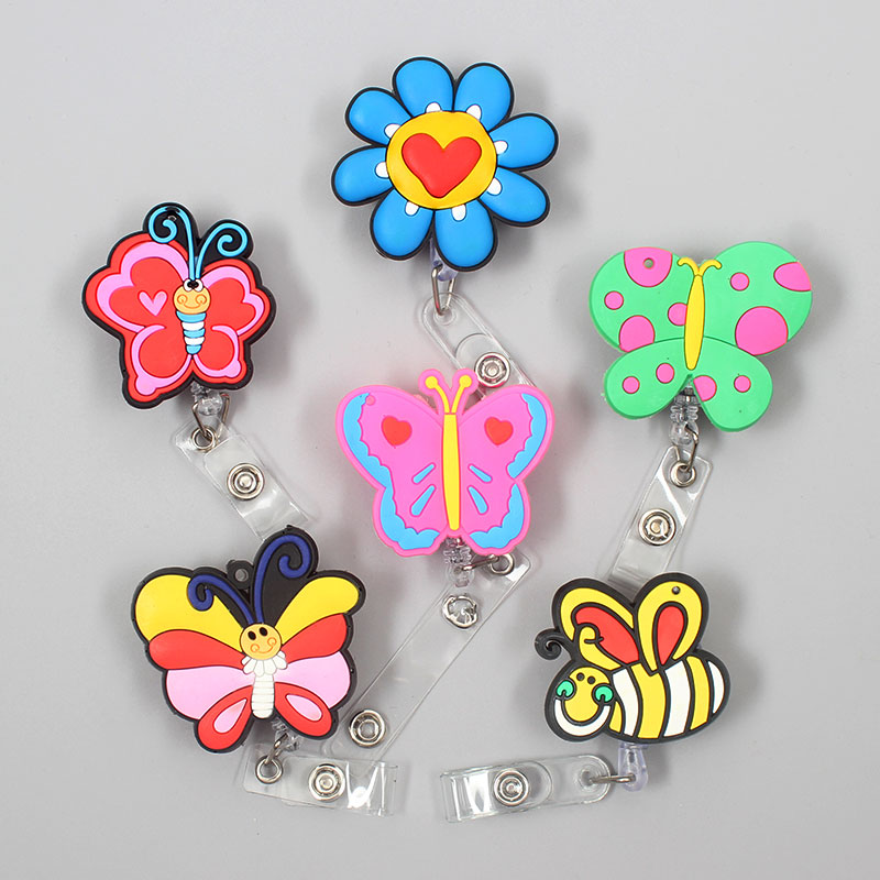 Creative Butterfly & Honeybee Retractable Plastic Badge Holder Reel Exhibition ID Enfermera Name Card Hospital Office Chest Card