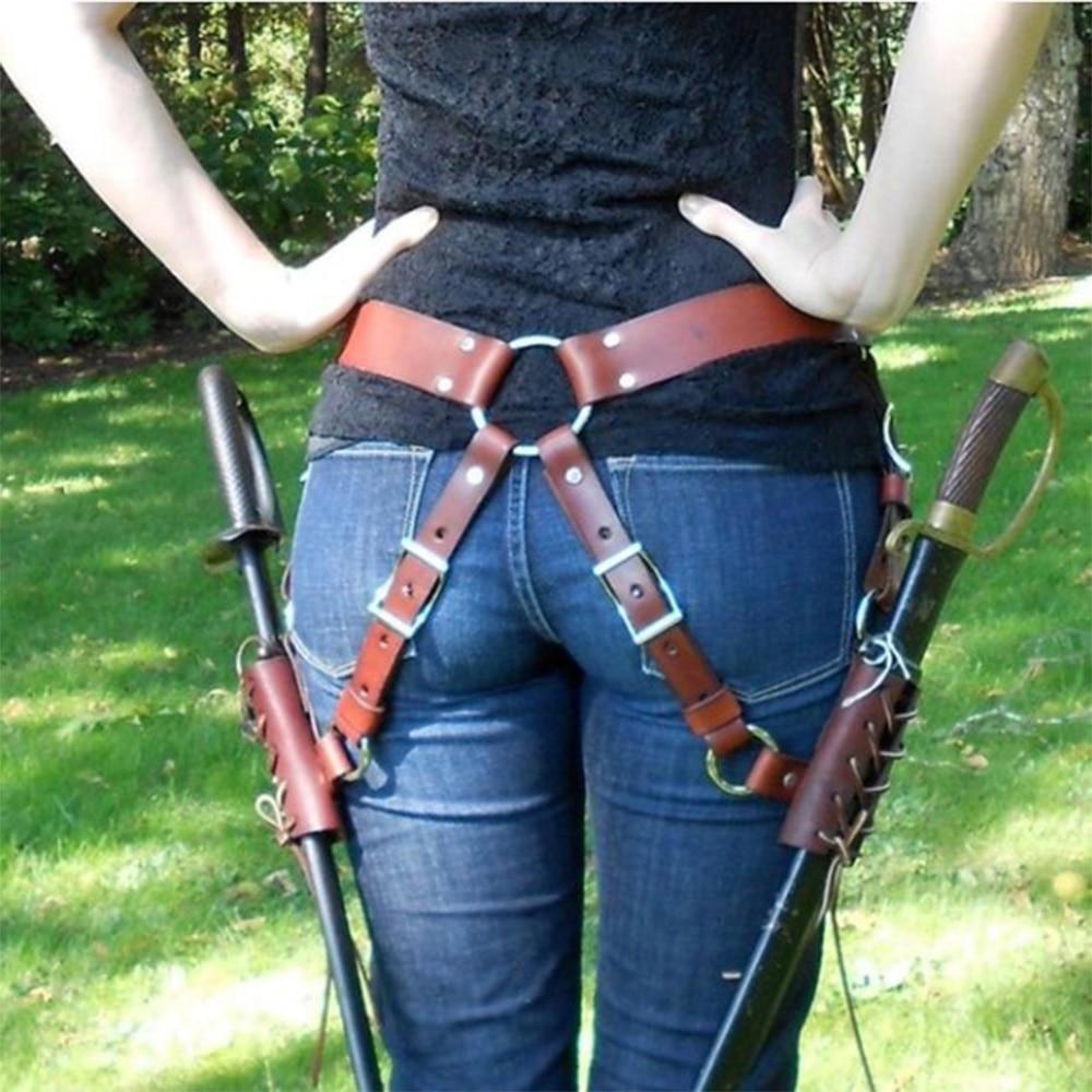 Adult Medieval Retro Shoulder Strap Cosplay Decoration Men Cosplay Larp Knight Weapon Costume Gear Rapier Ring Belt Holster D30