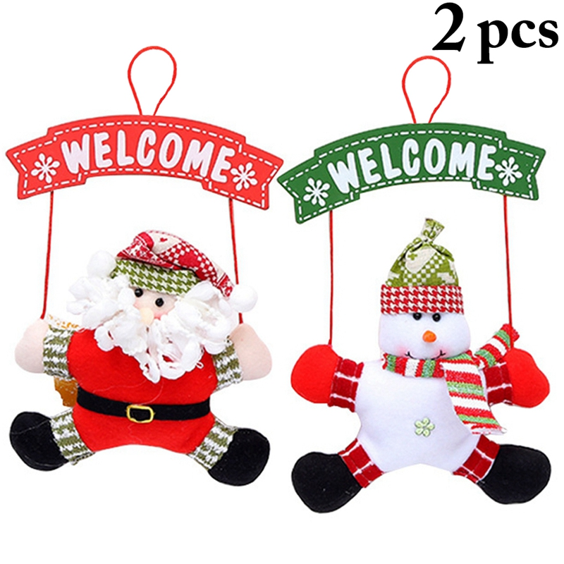 New Year Wooden Door Hanging Sign Santa Claus Snowman Ornament Christmas Decoration for Home Wooden Pendant Navidad Gift