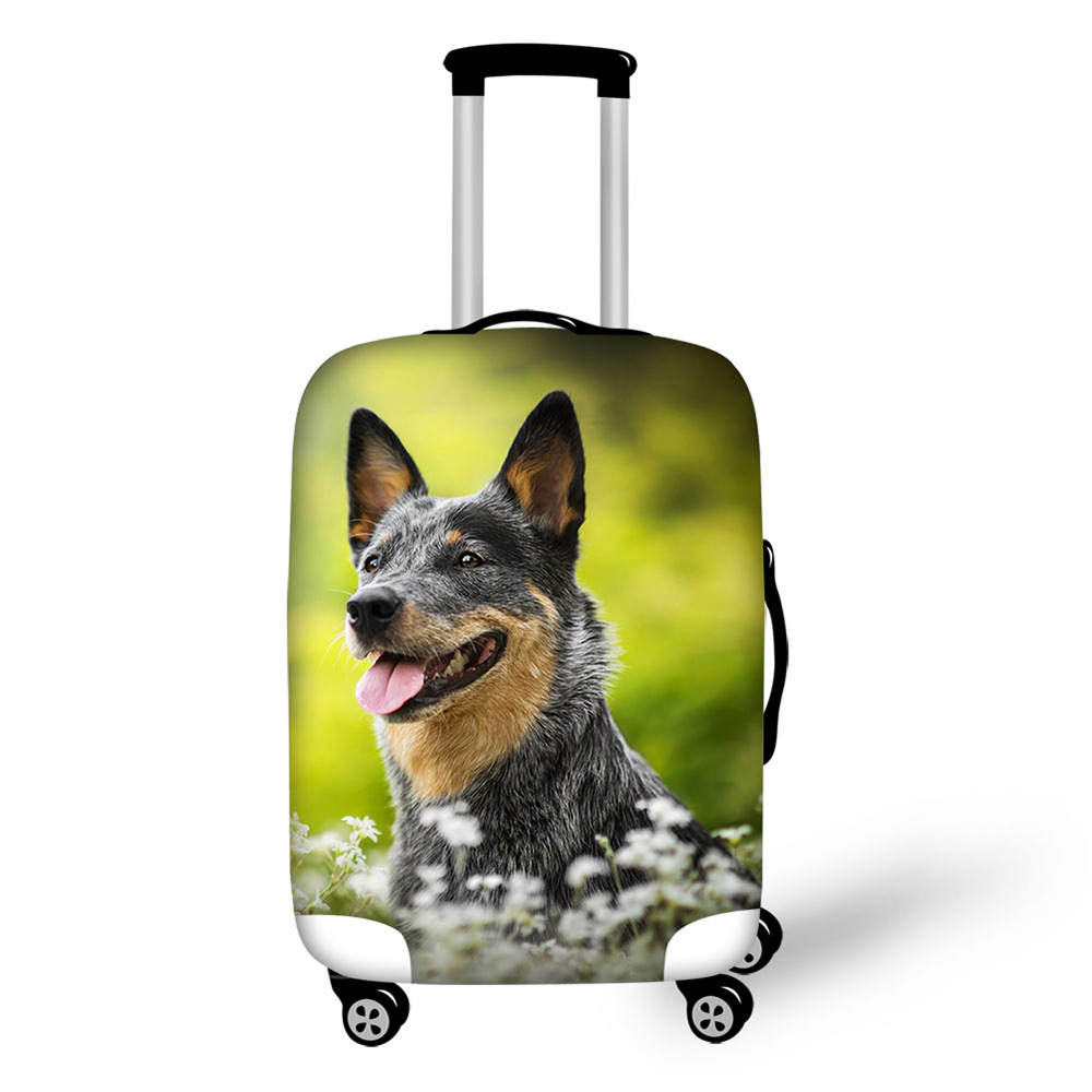 Australian Cattle Dog Waterproof Dust Rain Cover Elastic Suitcase Bag Protective Dog Lover Trolley Case Custom Thicken Luggages