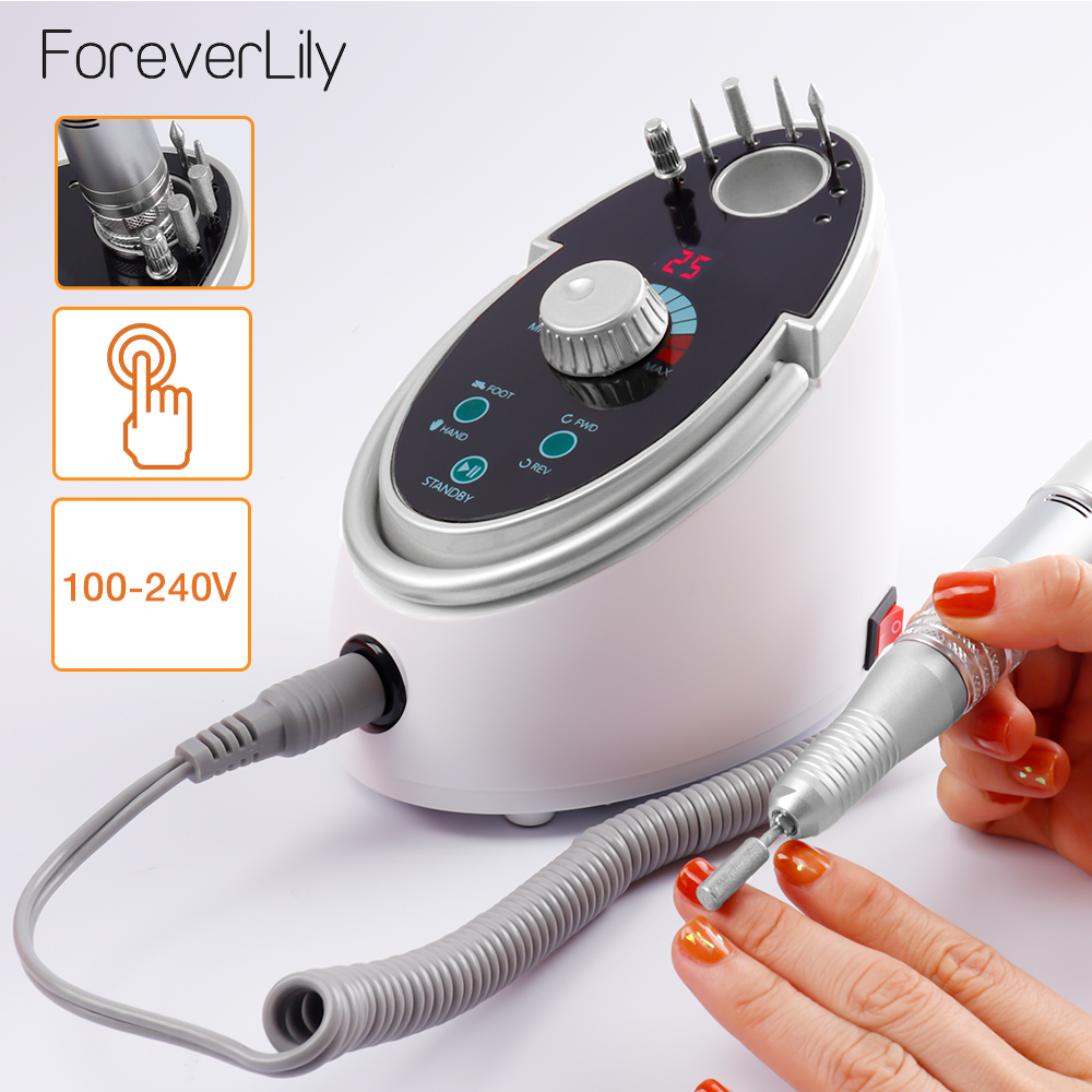 65W 35000RPM Electric Nail Drill Machine Nail File Kit Manicure Pedicure Nail Drill Polisher Device With Ceramic Nail Drill Bits