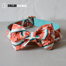 Watermelon dog collar leash for medium big dogs pet necklace with bow tie adjustable fabric dog collar rose gold metal buckles nylon adjustable dog collar leash set with bow tie for big small dogs cotton fabric collar rose gold christmas decorative gifts