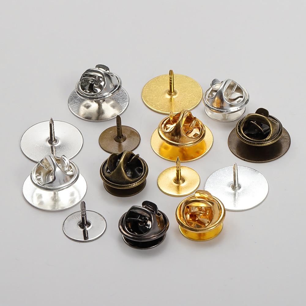 50 компл./лот, 10 мм/15 мм, основа для броши-бабочки, держатель для медной металлической броши, держатель для значка, фурнитура для самостоятельн...