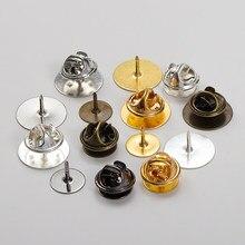 50 jogos/lote 10mm/15mm base de borboleta broche base titular cobre metal broche pinos crachá titular para diy jóias fazendo descobertas