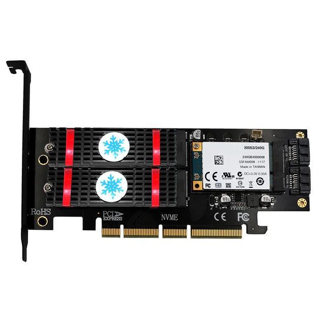 3 في 1 mSATA M.2 PCIE NVMe SSD إلى PCI E 3.0 4X SATA 3.0 بطاقة محول لـ M2 NVMe AHCI SATA mSATA أقراص بحالة صلبة محول