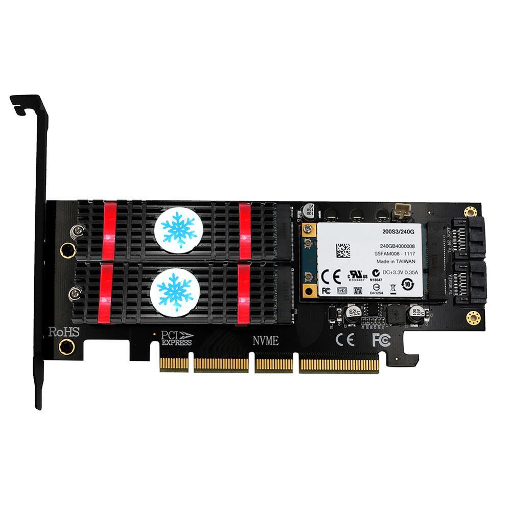 3 en 1 mSATA M.2 PCIE NVMe SSD vers PCI-E 3.0 4X SATA 3.0 carte adaptateur pour M2 NVMe AHCI SATA mSATA convertisseur de disque SSD