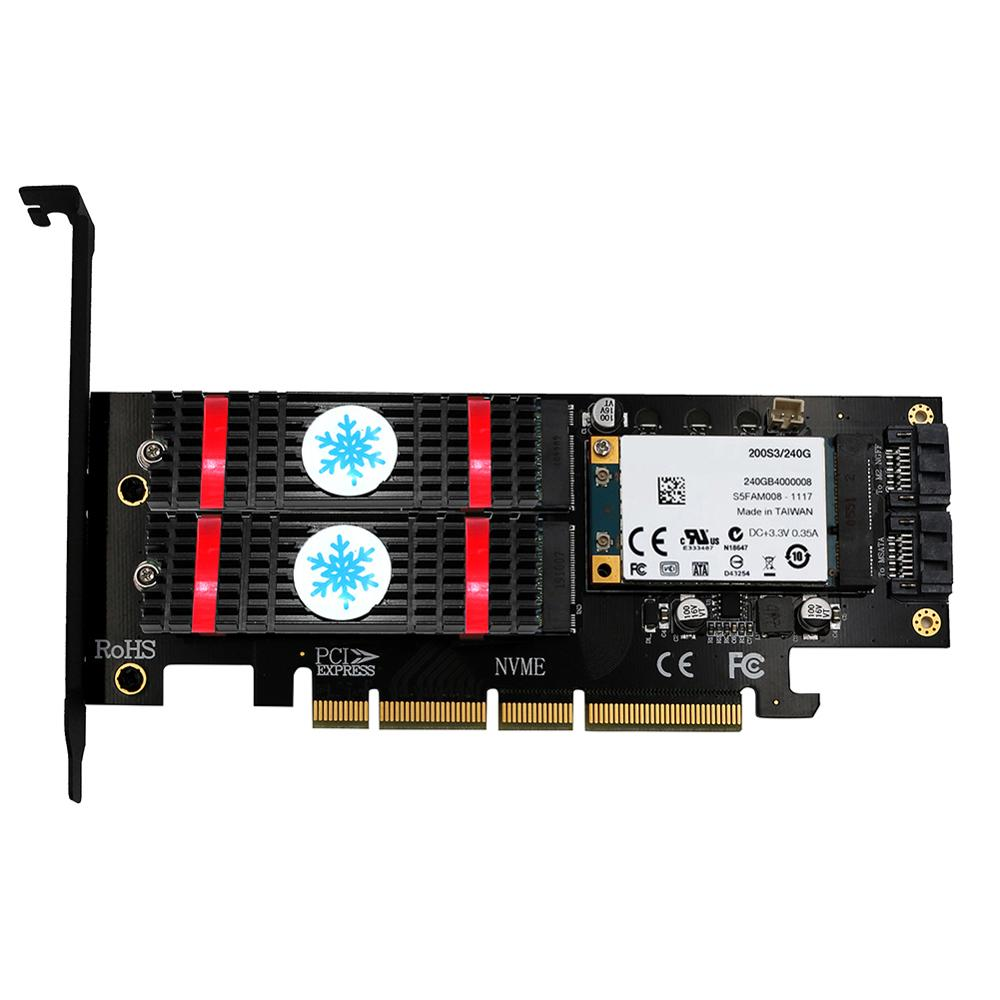 3 In 1 MSATA M.2 PCIE NVMe SSD To PCI-E 3.0 4X SATA 3.0 Adapter Card For M2 NVMe AHCI SATA MSATA Solid State Disk Converter