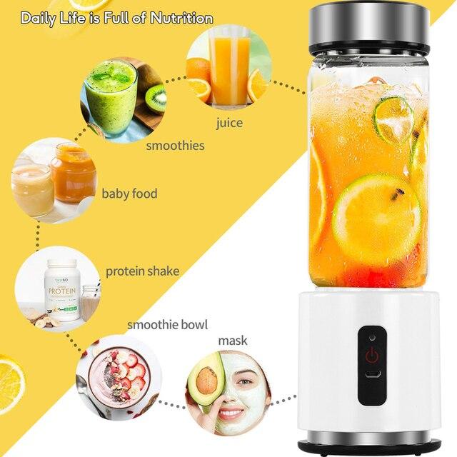 380ml 4000mAh USB Rechargeable Portable Glass Cup Personal Mini Blender Juicer Vegetable Fruit Citrus Orange Juice Maker Mixer 4