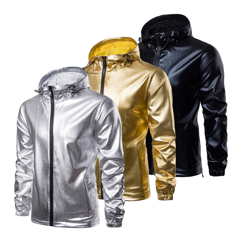 MJARTORIA Autumn Stamping Jackets Mens Gold Silver Zipper Casual Hooded Coats For Male Party DJ Clothing Jaqueta Masculina New