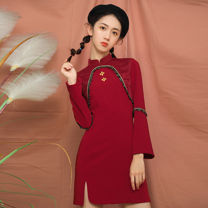 2020 Chinese Dress Long Sleeve Cheongsam Dresses Vintage Qi Pao Women Formal Long Dress Print Flower Qipao