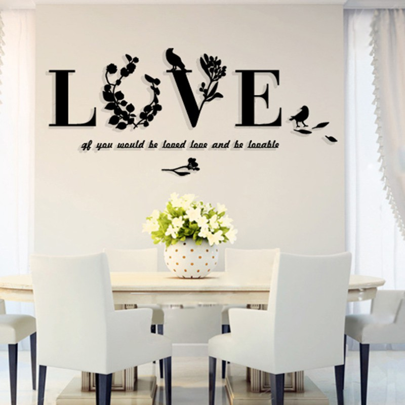 Acrylic Love leaves Home Decorative Wall Decals