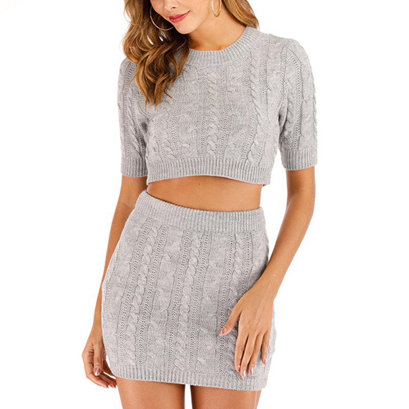 JULY'S SMTWB Women's Knit Short Skirt Set O-Neck Short Sleeve Short Top Lady Two-piece Wild Bottoming Jupe Knitted