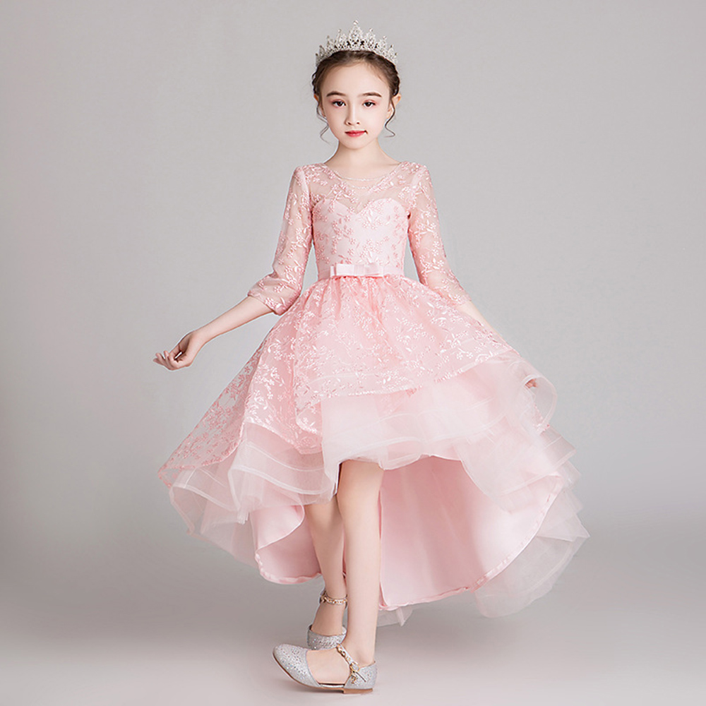 Pink Flower Girls Wedding Dress for Kids V-neck Embroidery Organza Lace Sleeveless Long Evening Dress Elegant Party Girl Costume